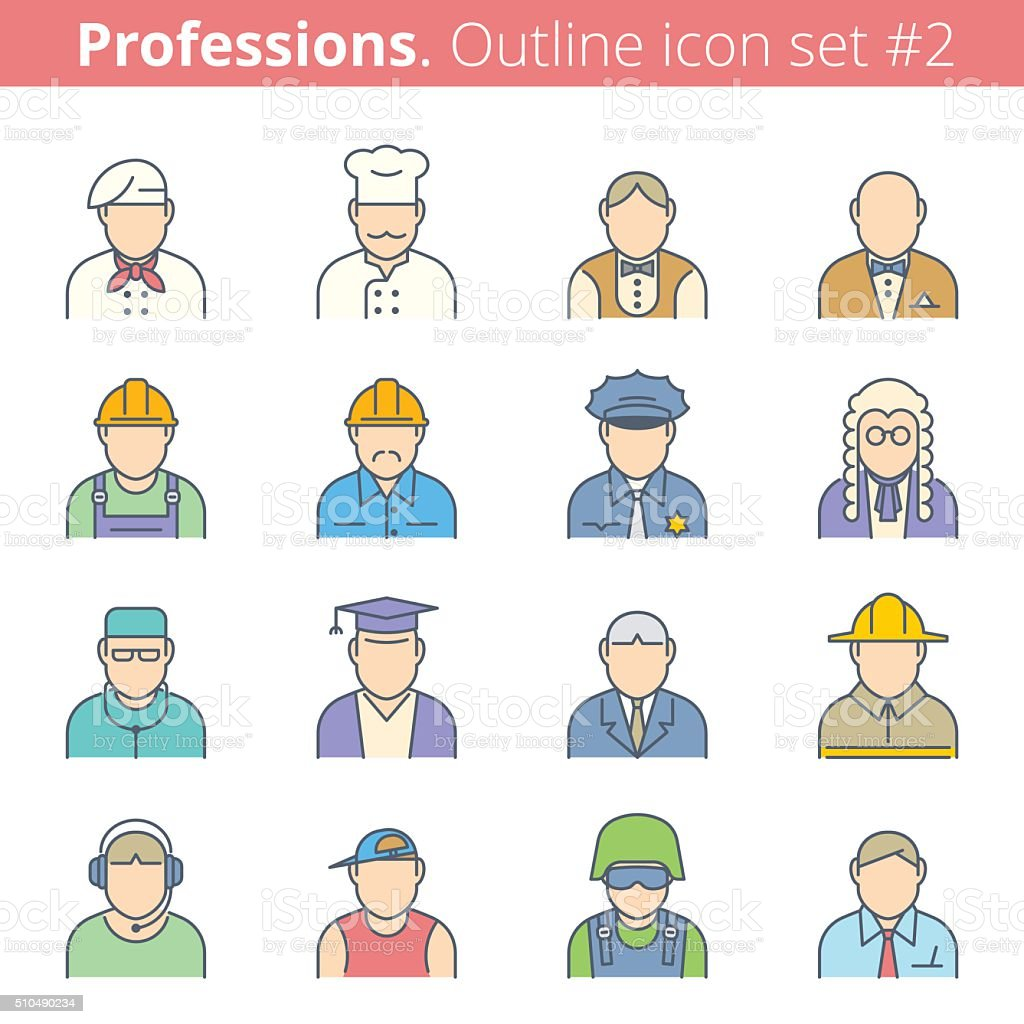 Modern color thin line icons set of people avatars. Premium quality...