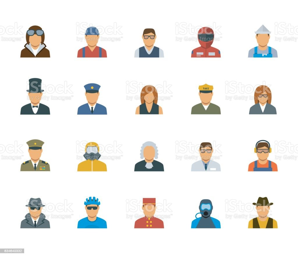 People professions and occupations icon set in flat design