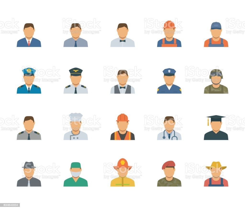 People professions and occupations icon set in flat design #1 vector art illustration