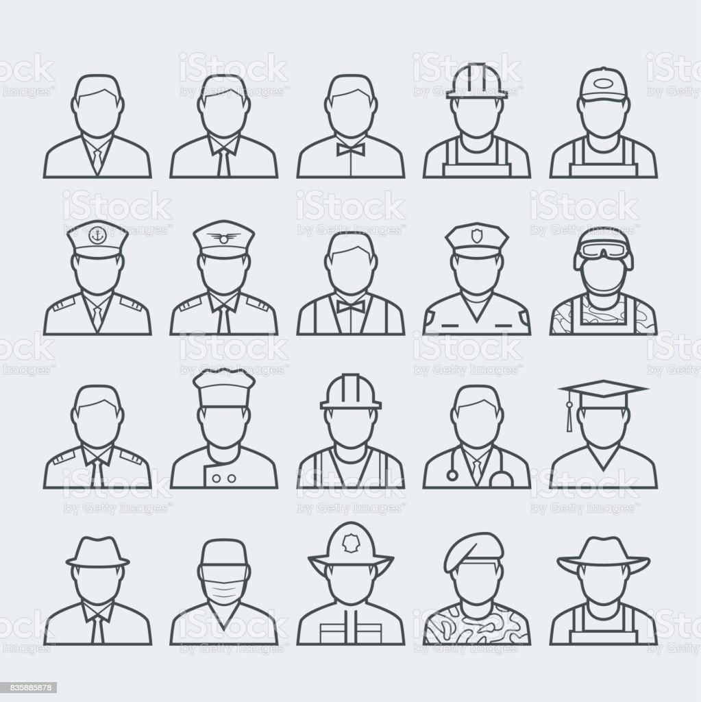 人專業和職業圖示集在細線樣式 #1 - 免版稅三軍圖庫向量圖形