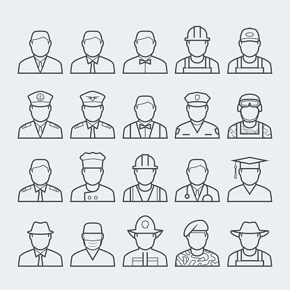 People professions and occupations icon set in thin line style #1