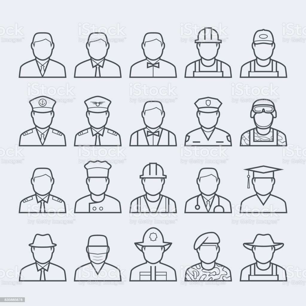People professions and occupations icon set in thin line style #1 vector art illustration