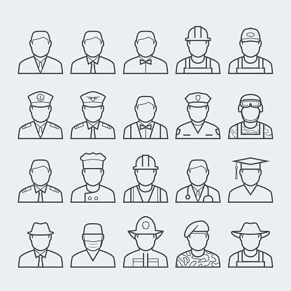 人專業和職業圖示集在細線樣式 1向量圖形及更多三軍圖片