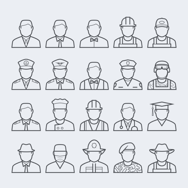 People professions and occupations icon set in thin line style #1 People professions and occupations icon set in thin line style #1 farmer stock illustrations