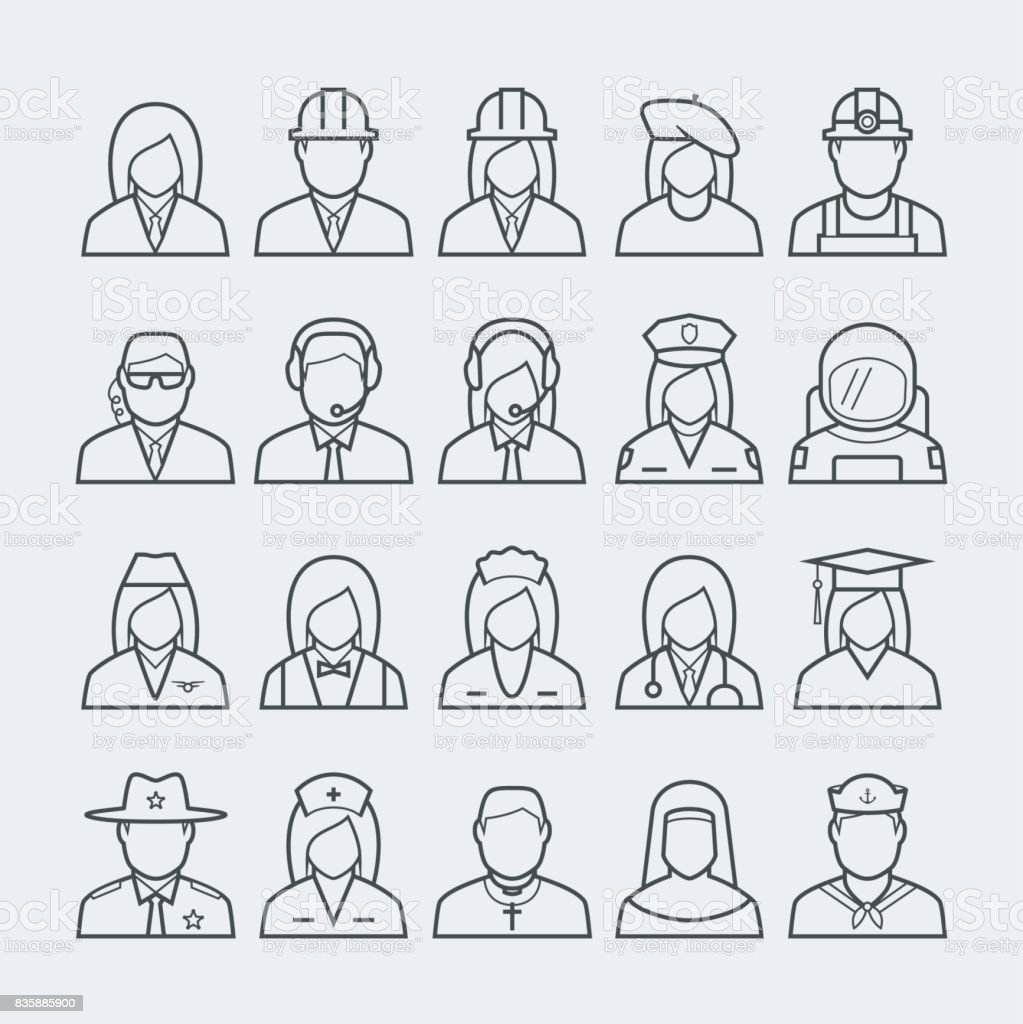 People professions and occupations icon set in thin line style