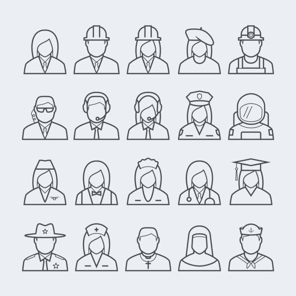 people professions and occupations icon set in thin line style #2 - construction worker stock illustrations, clip art, cartoons, & icons