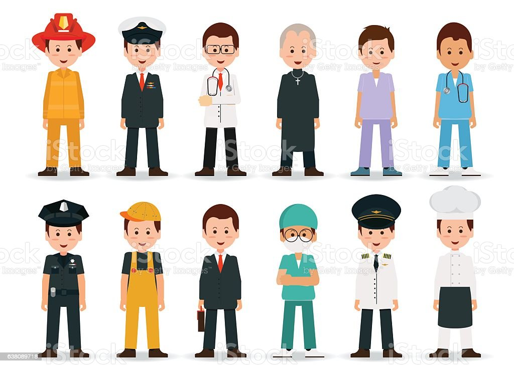 People professions and occupations icon set isolated on white...