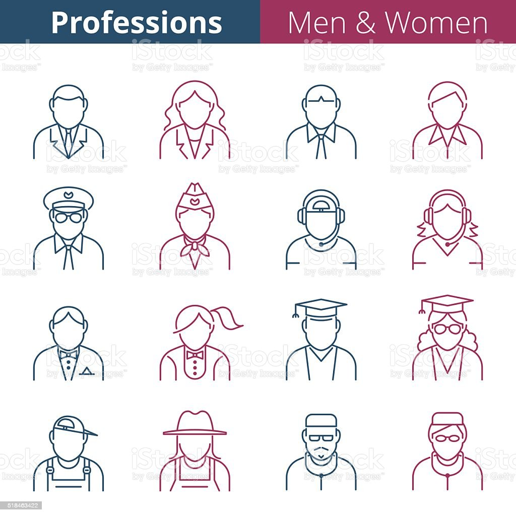 Thin line people avatar icons. Male and female professions and...