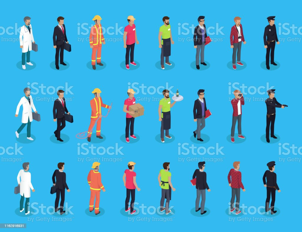 People professions characters isometric, vector men in varied...