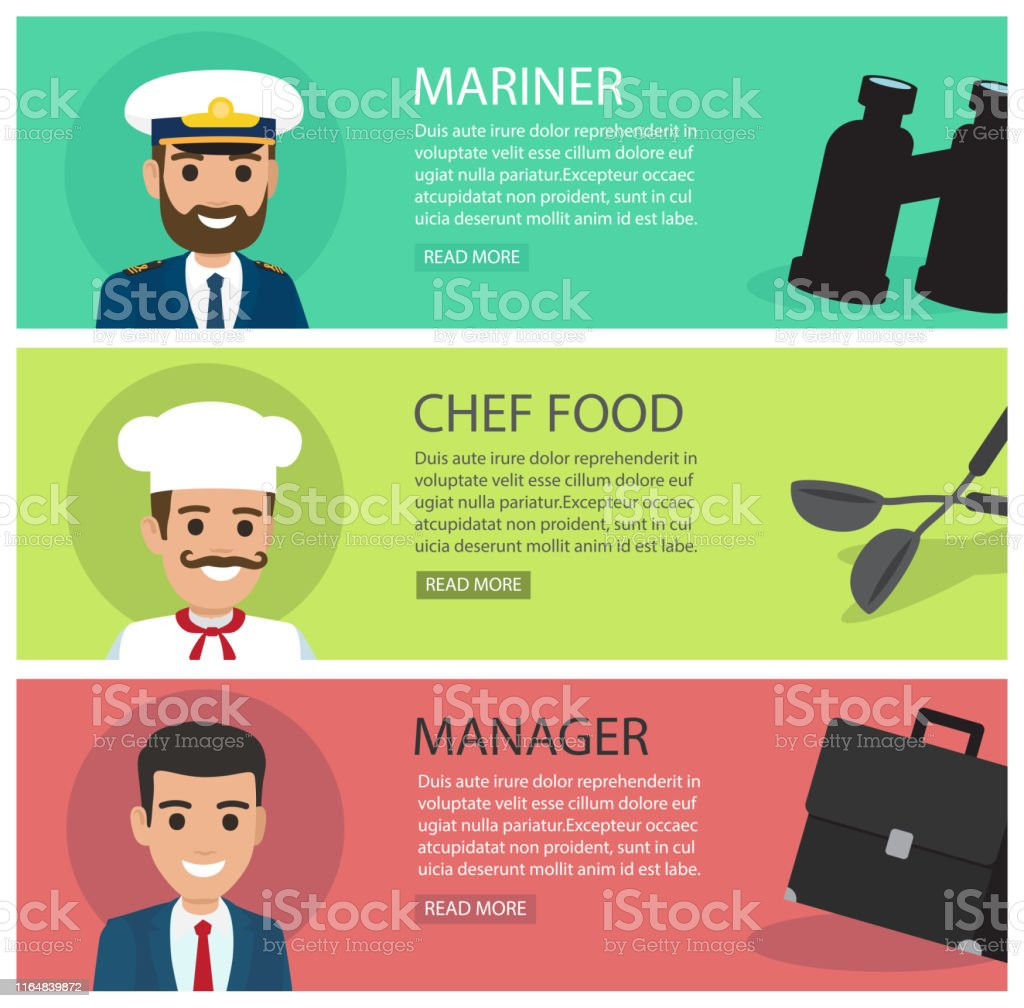 People professions web banners set. Mariner, chef and manager smiling...