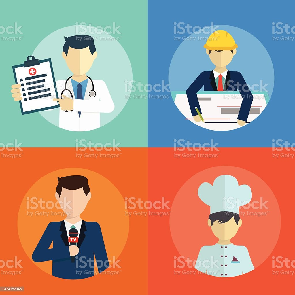 People professions flat icons set with doctor engineer chef reporter...