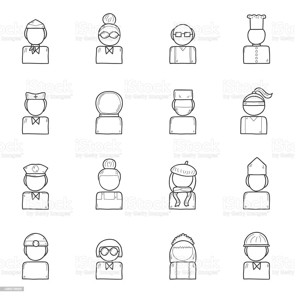 Set of hand drawn people professions icon