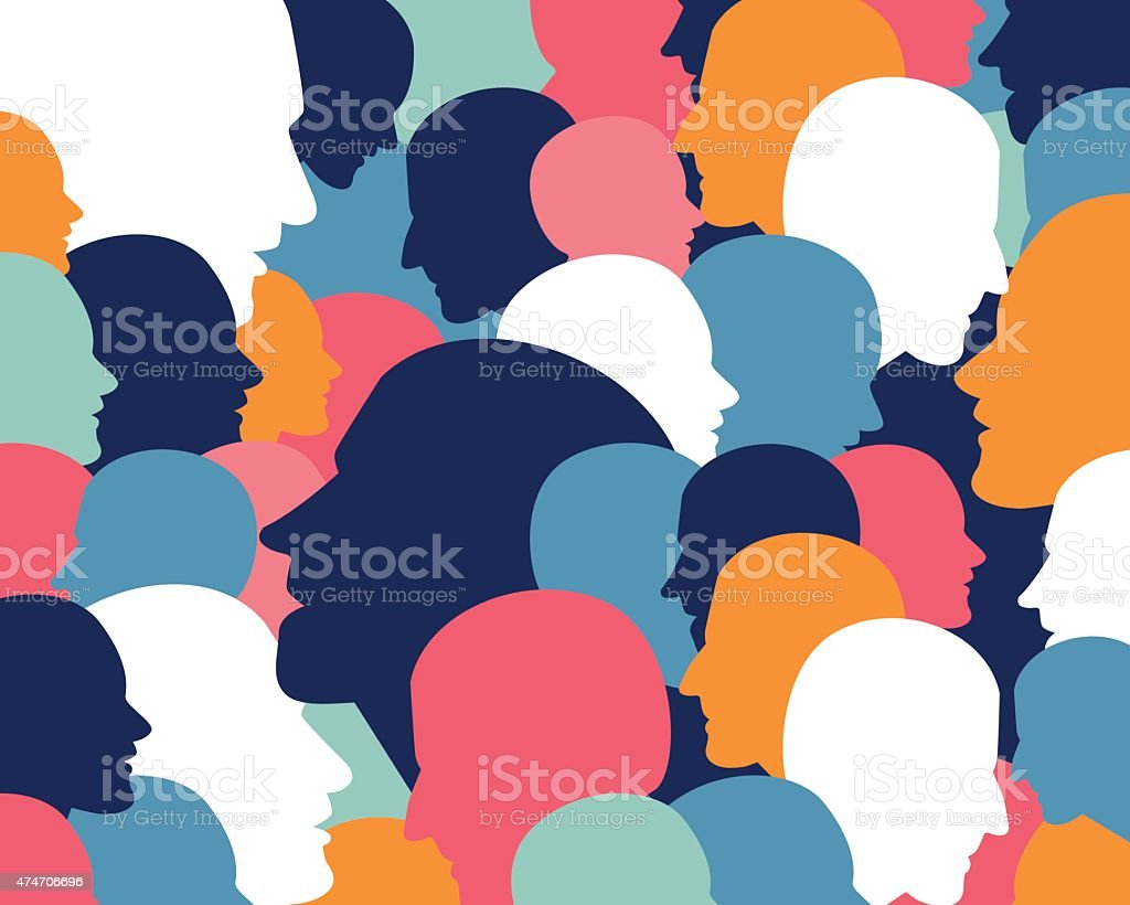 People profile heads. Vector background pattern. vector art illustration