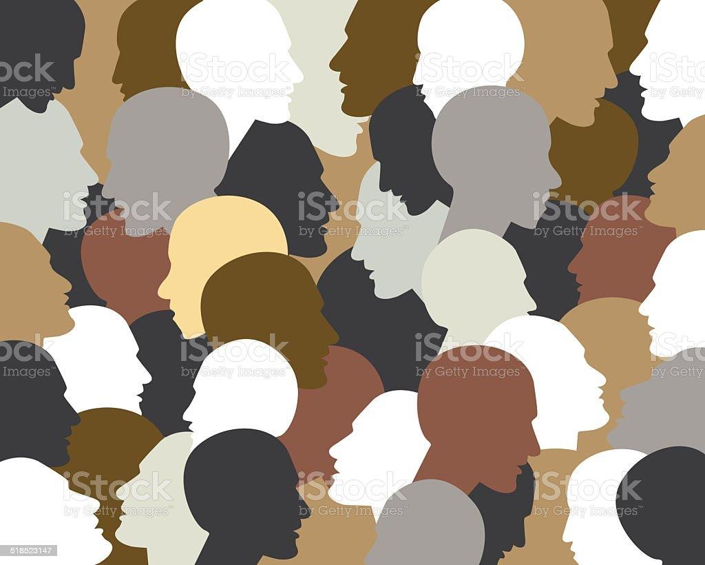 People profile heads. Vector background pattern. vector art illustration