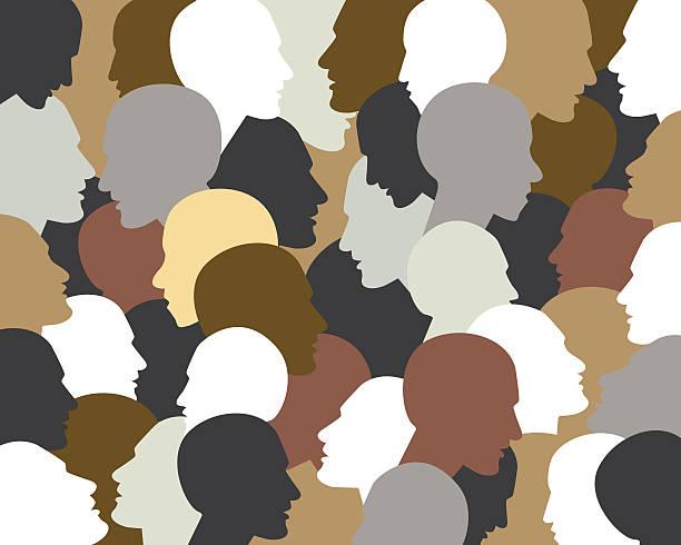 menschen profil heads.   vektor hintergrund-muster. - kindergesichtsfarben stock-grafiken, -clipart, -cartoons und -symbole