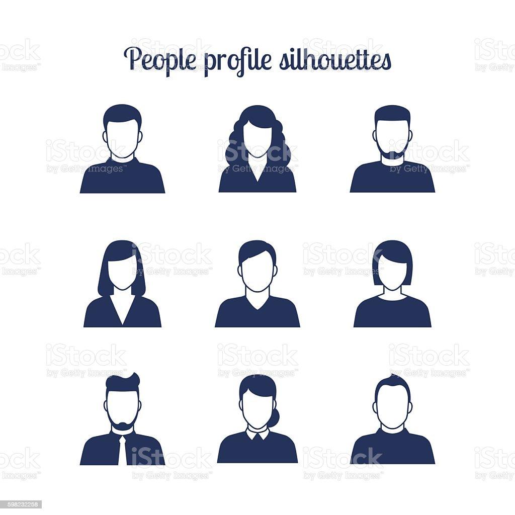 People profile silhouettes icons set ilustração de people profile silhouettes icons set e mais banco de imagens de adulto royalty-free