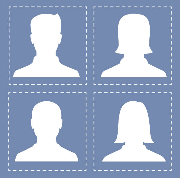 people profile silhouettes in white color - old man photo pictures stock illustrations, clip art, cartoons, & icons