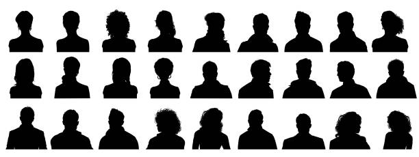 people profile silhouettes - portrait stock illustrations