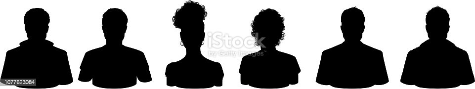 Variation of Head Silhouette front and side view isolated on white background highly detailed