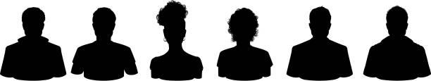 People Profile Silhouettes Variation of Head Silhouette front and side view isolated on white background highly detailed in silhouette stock illustrations