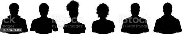 People Profile Silhouettes - Arte vetorial de stock e mais imagens de Adolescente