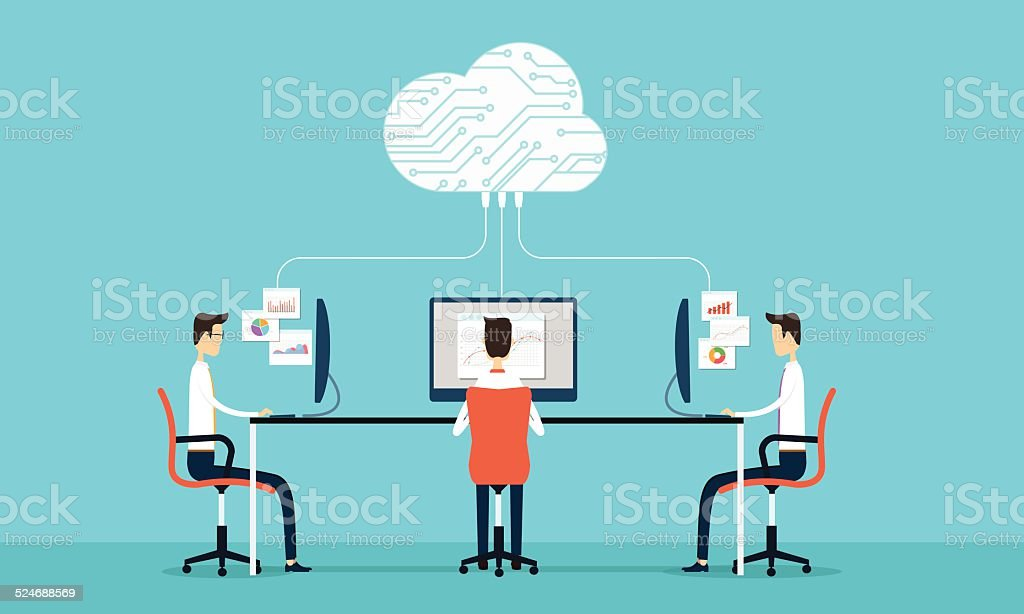 People programing develop web and application on cloud net work vector art illustration