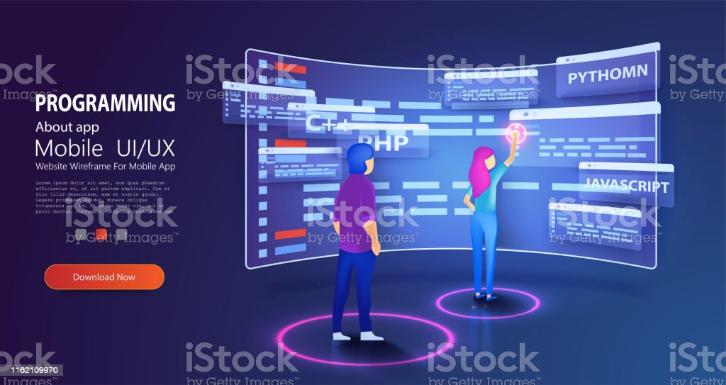 People programmers coding and correct errors in project. Dashboard...