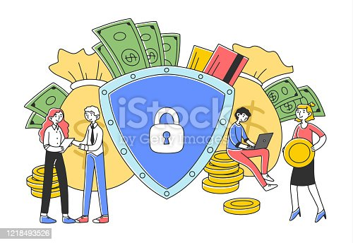 People protecting their money flat vector illustration. Bank employees giving loan and opening safe accounts. Business insurance and financial guarantee concept