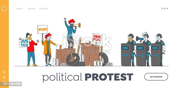 istock People Protest Landing Page Template. Characters Fighting for Rights and Freedom, Protesting with Placards on Strike 1271084586
