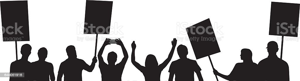 People Protesting Silhouettes vector art illustration