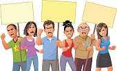 Vector illustration of an angry crowd of diverse people on a protest rally, isolated on white. They are screaming, raising their fists and holding up signs. Concept for protest, politics, opposition, activism and social issues.