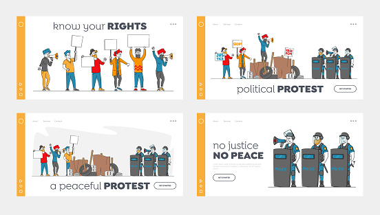 People Protesting with Placards on Barricades, Demonstration Landing Page Template Set. Characters Protest with Banners