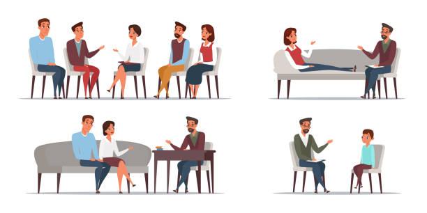 people psychologist flat illustrations set - therapist stock illustrations