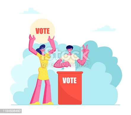 People Putting Paper Vote into Ballot Box. Male and Female Characters, Law-abiding Citizen, City Dwellers Execute their Rights and Duties in Political Life of Country Cartoon Flat Vector Illustration