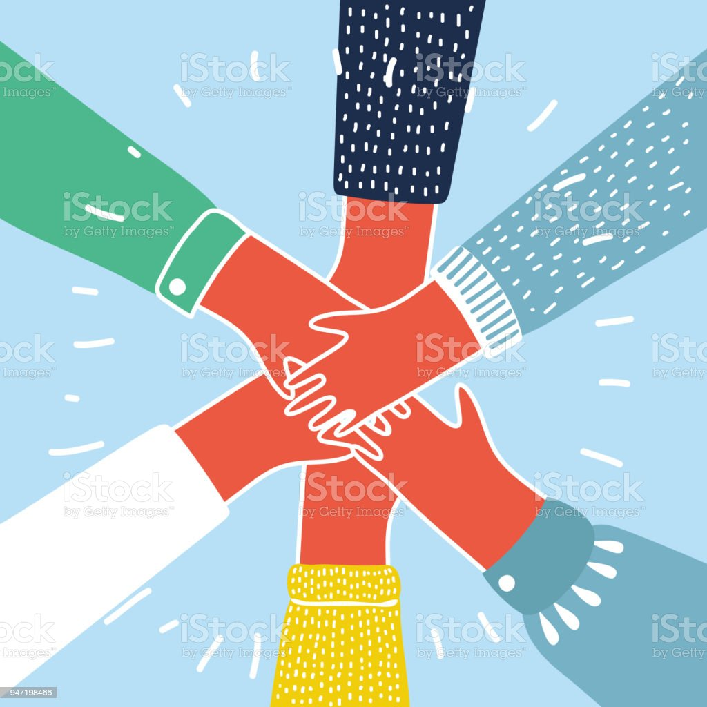 People putting their hands together vector royalty-free people putting their hands together vector stock illustration - download image now