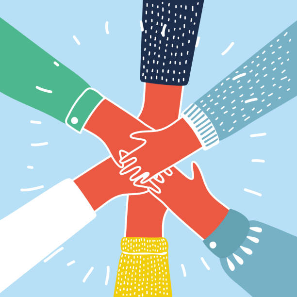 People putting their hands together vector vector art illustration