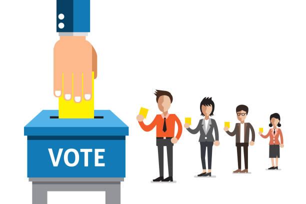 ilustraciones, imágenes clip art, dibujos animados e iconos de stock de personas colocando papel de votación en la urna - polling place