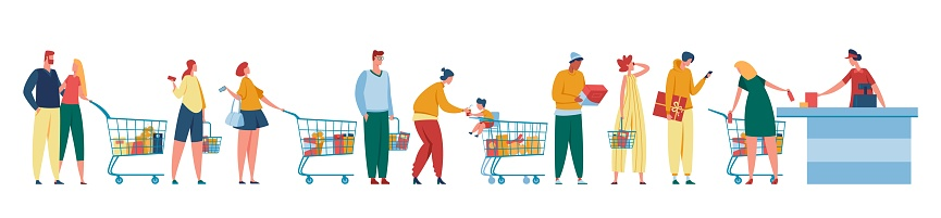 People queue. Customers waiting in line at counter with cashier. Men and women with shopping carts standing at cash desk. Grocery store checkout vector illustration
