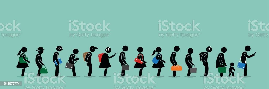 People queuing up in a long queue line. vector art illustration
