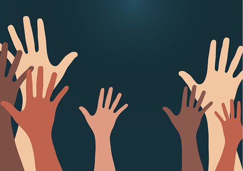 People raise their hands, vote with their hands. The concept of multinationality, diversity, union and power. Volunteering, charity, donations and solidarity. Vector