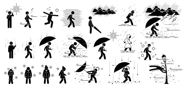 People react to weather conditions and climate in stick figure pictogram icons. Weathers are hot sunny day, breezy, strong wind, foggy, raining, thunderstorm, winter cold, hail, storm, and hurricane. hailing a ride stock illustrations