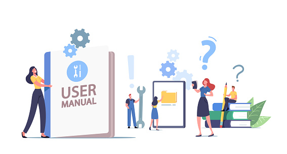 People Read Book with Instructions for Equipment. User Manual. Characters with Office Stuff Discussing Content of Guide