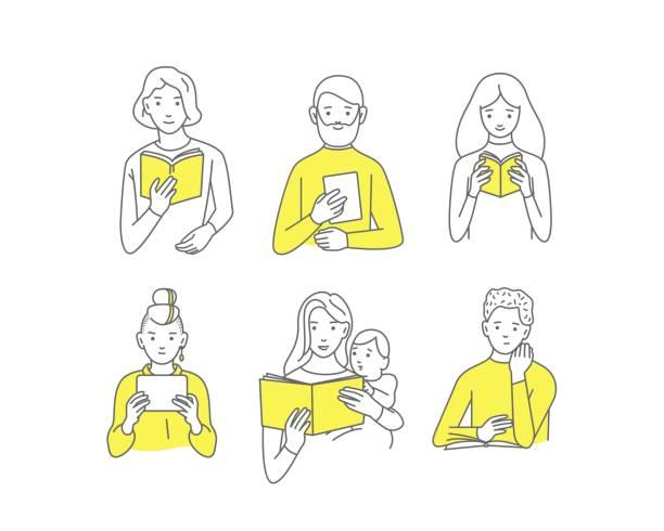 人々 を読んで、生徒に本、さまざまな人々、ベクトル落書きデザイン - イラスト点のイラスト素材/クリップアート素材/マンガ素材/アイコン素材