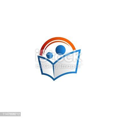 people reading book vector logo. modern design education school industry. blue and orange color