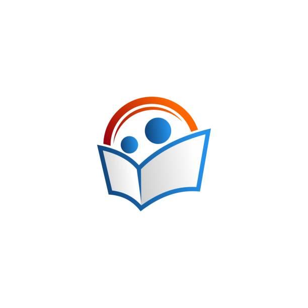 bildbanksillustrationer, clip art samt tecknat material och ikoner med människor som läser boken vektor logo typ - reading a book