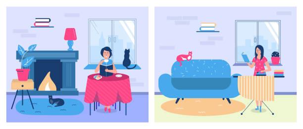 ilustrações, clipart, desenhos animados e ícones de pessoas lendo livros e educação em casa, mulheres com livros didáticos - salas de aula