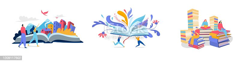 People reading books, creative imagination concept, flat style vector illustration. Open book fantasy literature, read novel and fairy tale. Creative people cartoon character, set of isolated concepts