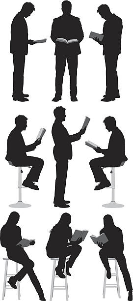 people reading books - book silhouettes stock illustrations