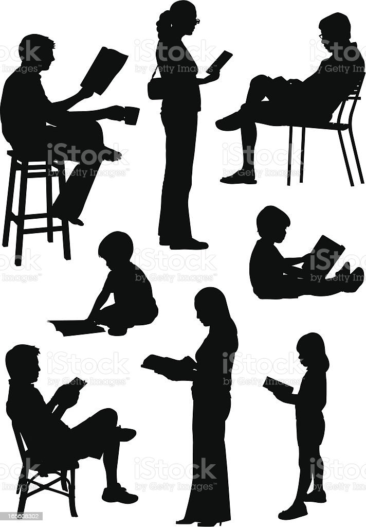 People Reading vector art illustration