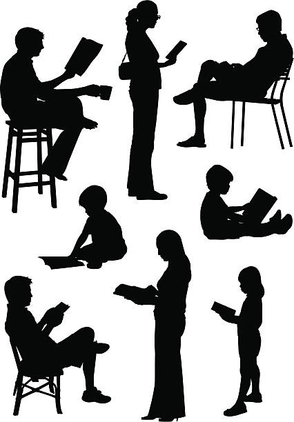 people reading - book silhouettes stock illustrations
